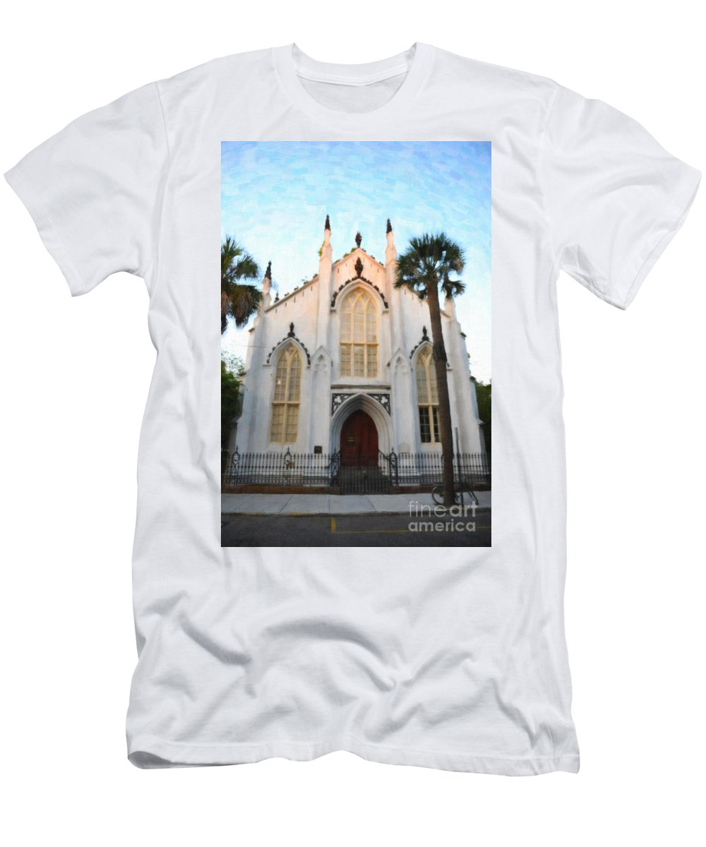 French Huguenot Men's T-Shirt (Athletic Fit) featuring the digital art Downtown Charleston Church by Dale Powell