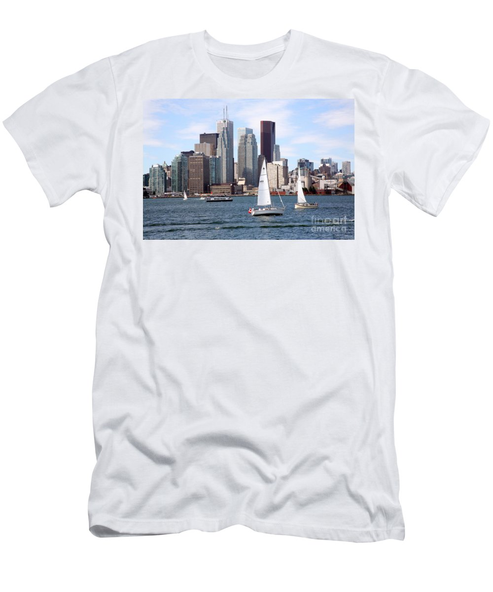 Bay Wellington Tower Men's T-Shirt (Athletic Fit) featuring the photograph Downtown Skyline Of Toronto Ontario by Bill Cobb
