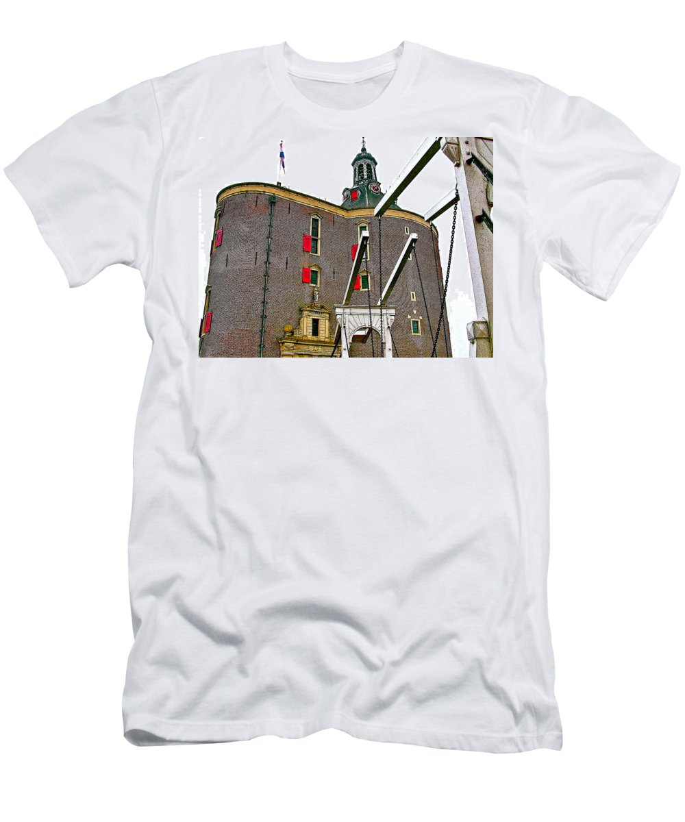 Drawbridge And Tower In Enkhuizen Men's T-Shirt (Athletic Fit) featuring the photograph Drawbridge And Tower In Enkhuizen-netherlands by Ruth Hager