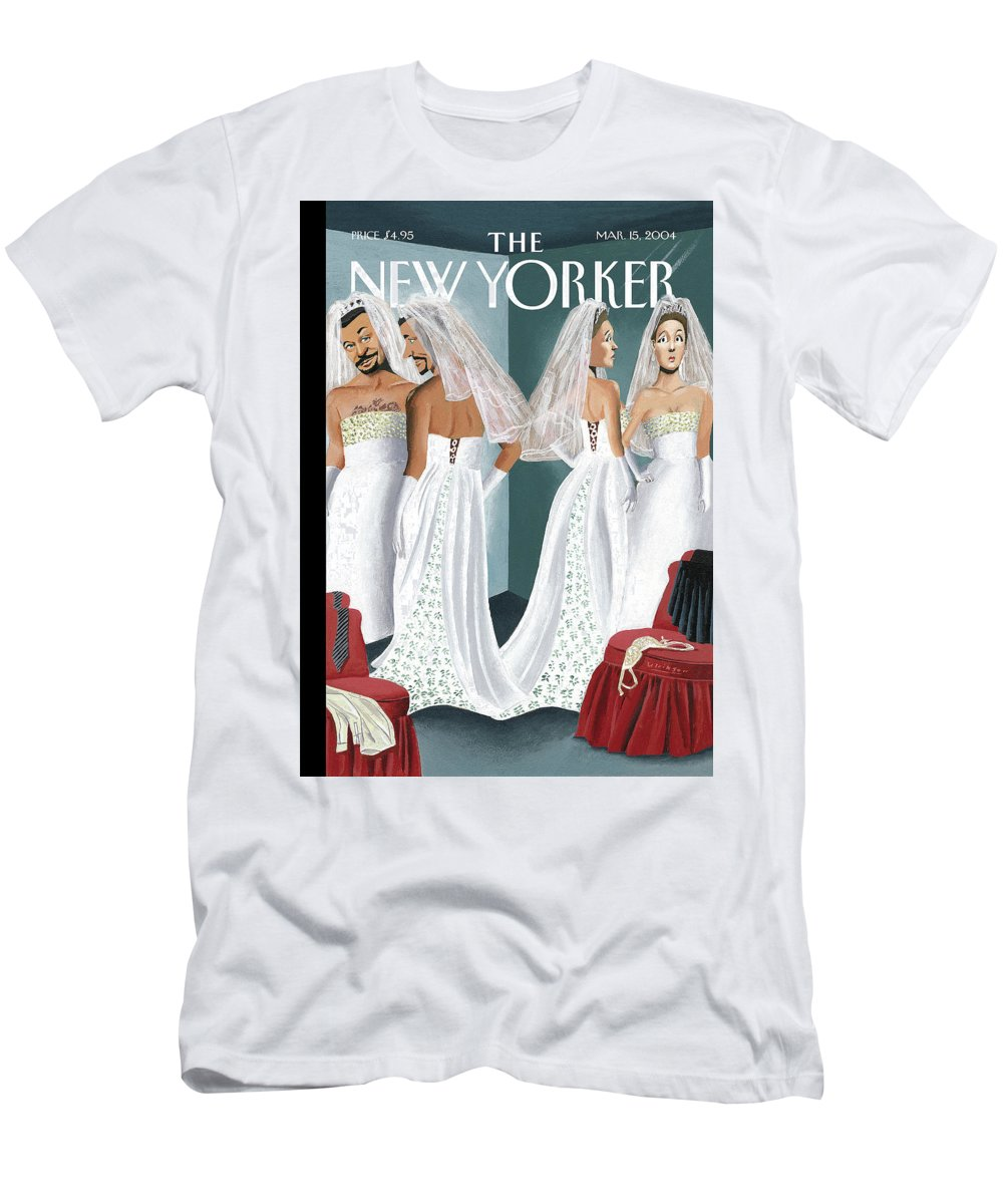 Mul Mark Ulriksen  (woman And Man Trying On Wedding Gowns.) Marriage Weddings Fashion Gay    70095 T-Shirt featuring the painting Dress Reversal by Mark Ulriksen