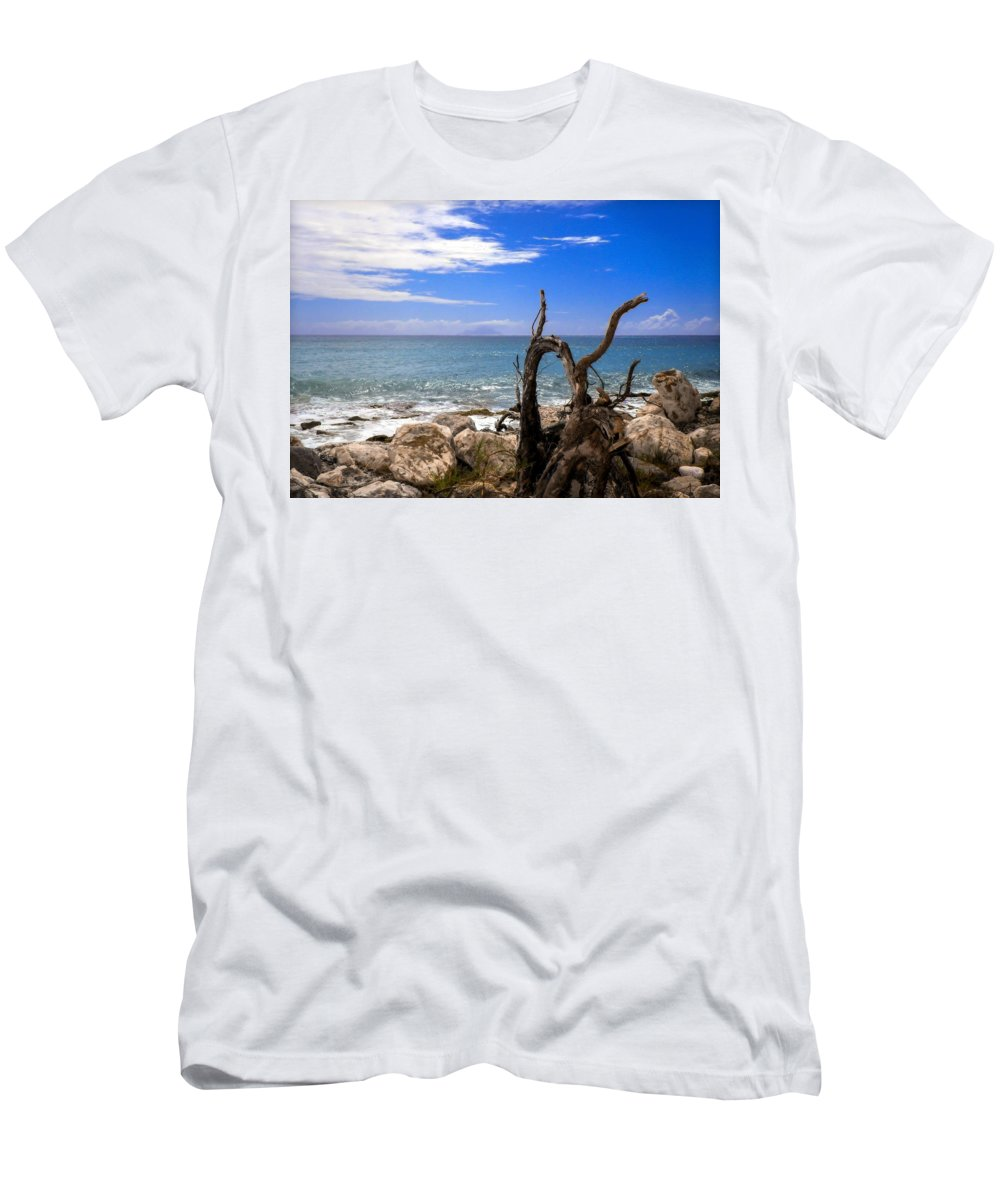 Driftwood Men's T-Shirt (Athletic Fit) featuring the photograph Driftwood Island by Karen Wiles