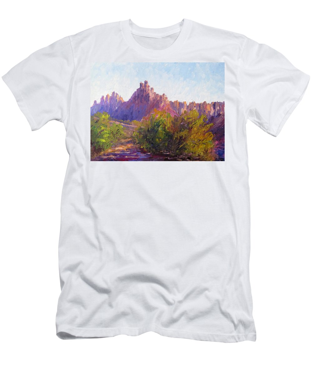 Plein Air Impressionist Oil Painting Men's T-Shirt (Athletic Fit) featuring the painting Eagle Crags by Terry Chacon