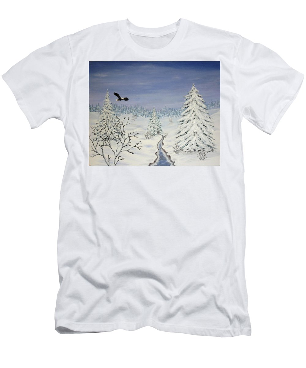 Flying Eagle Acrylic Painting Men's T-Shirt (Athletic Fit) featuring the painting Eagle On Winter Lanscape by Georgeta Blanaru