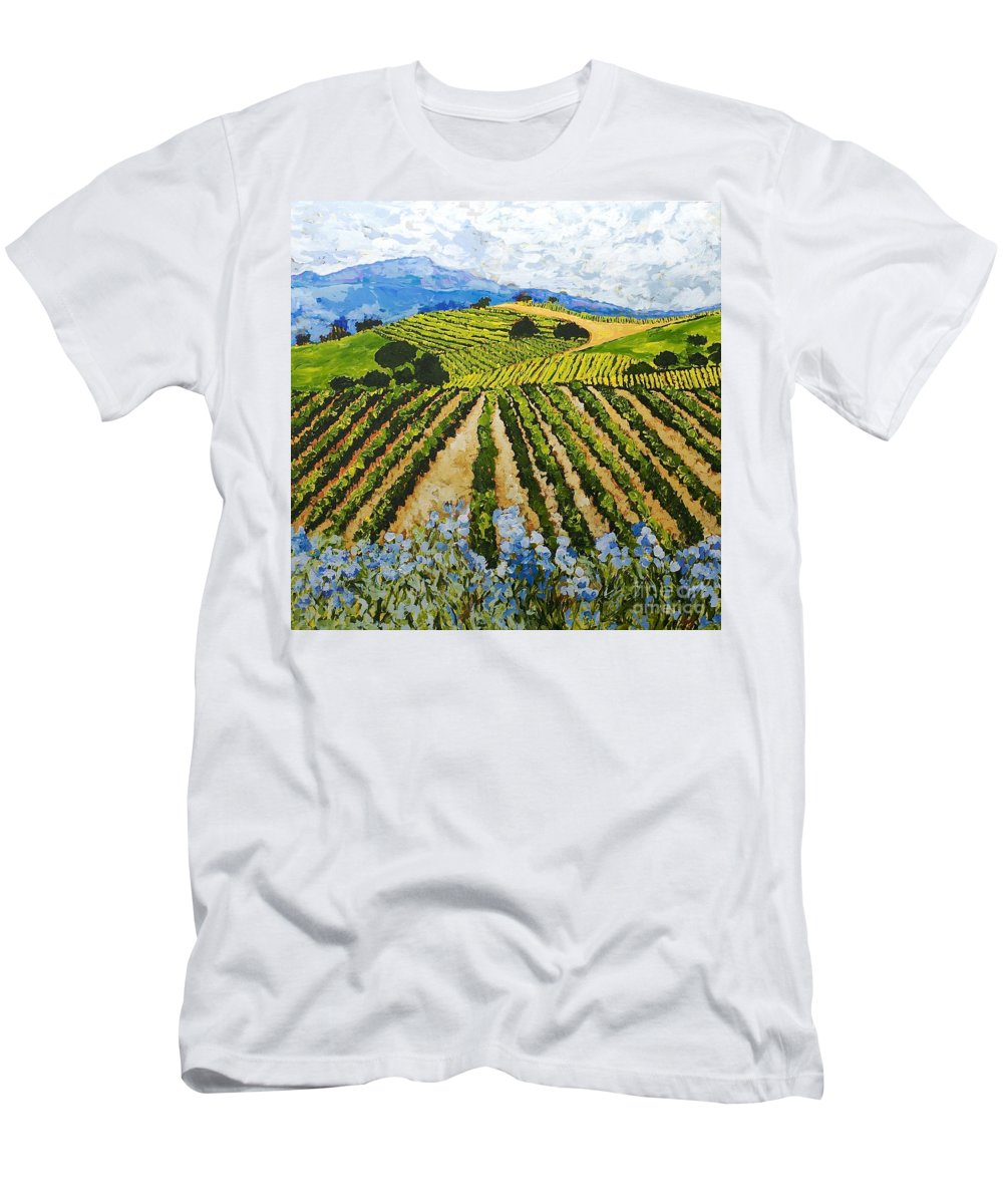 Landscape Men's T-Shirt (Athletic Fit) featuring the painting Early Crop by Allan P Friedlander