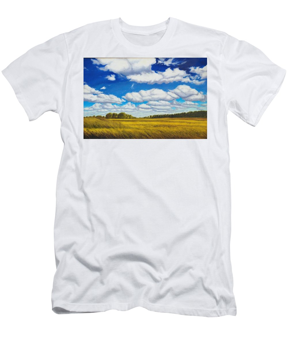 Wheat Men's T-Shirt (Athletic Fit) featuring the painting Early Summer Clouds by Leonard Heid