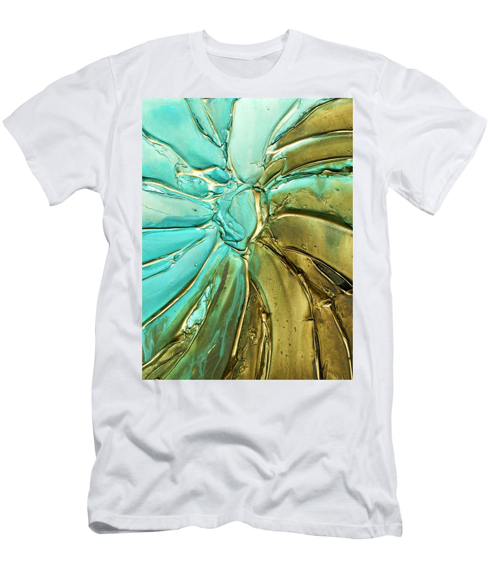 Teal Art Men's T-Shirt (Athletic Fit) featuring the painting Aqua Teal Brown Organic Abstract Art by Susanna Shaposhnikova