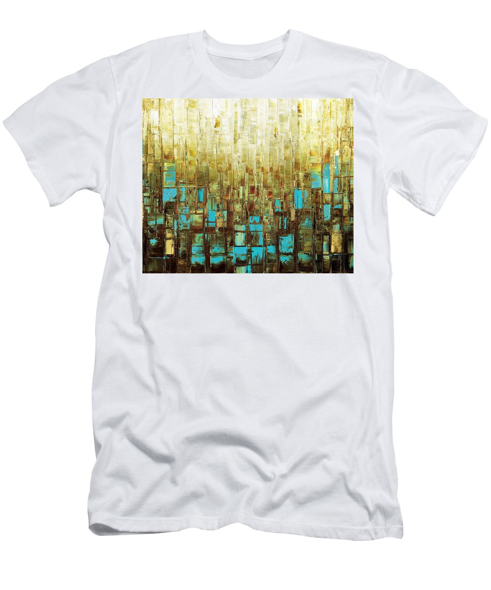 Abstract Men's T-Shirt (Athletic Fit) featuring the painting Abstract Geometric Mid Century Modern Art by Susanna Shaposhnikova