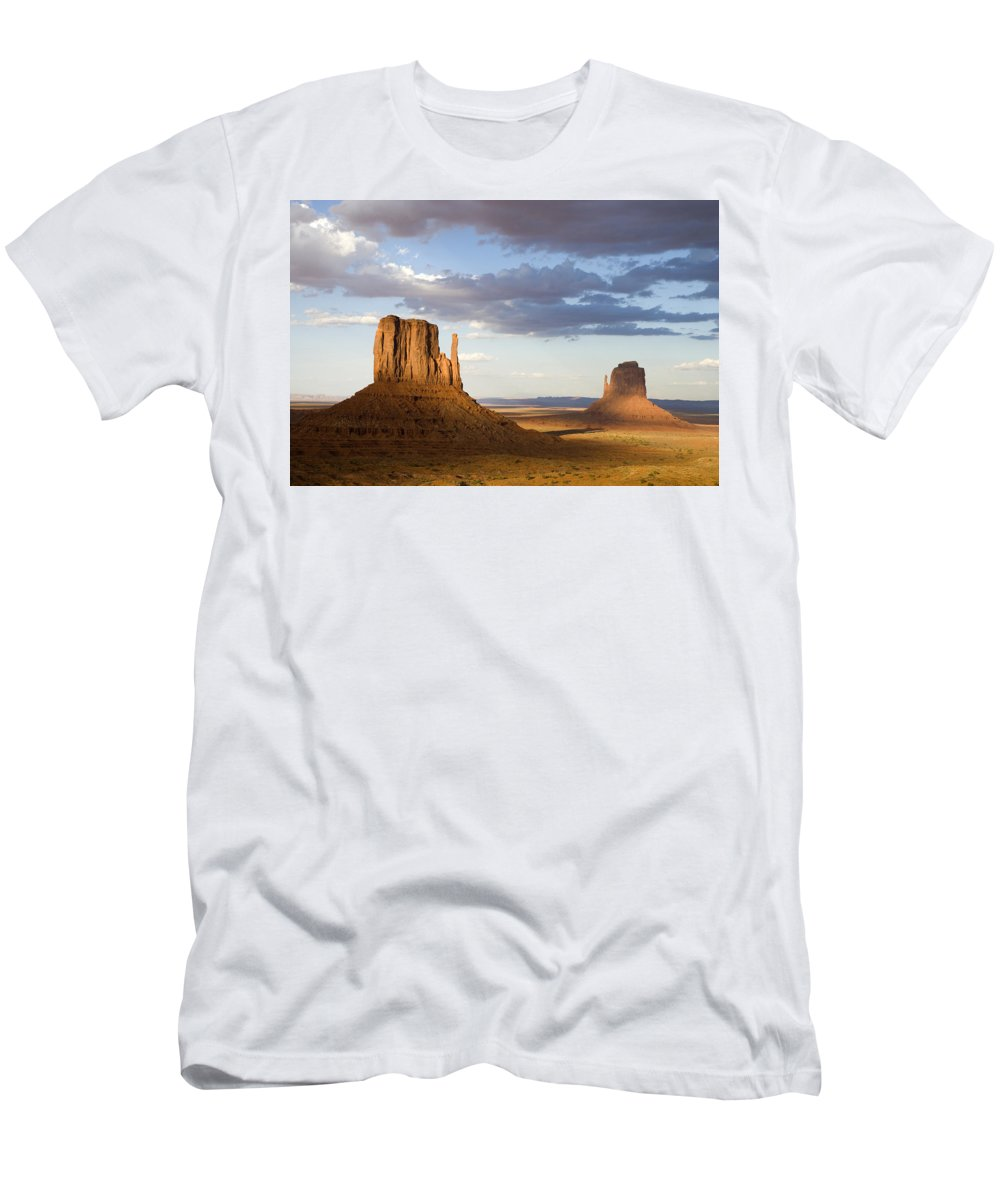Feb0514 Men's T-Shirt (Athletic Fit) featuring the photograph East And West Mittens Monument Valley by Tom Vezo