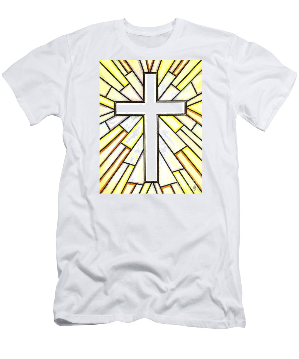 Cross Men's T-Shirt (Athletic Fit) featuring the painting Easter Cross 3 by Jim Harris