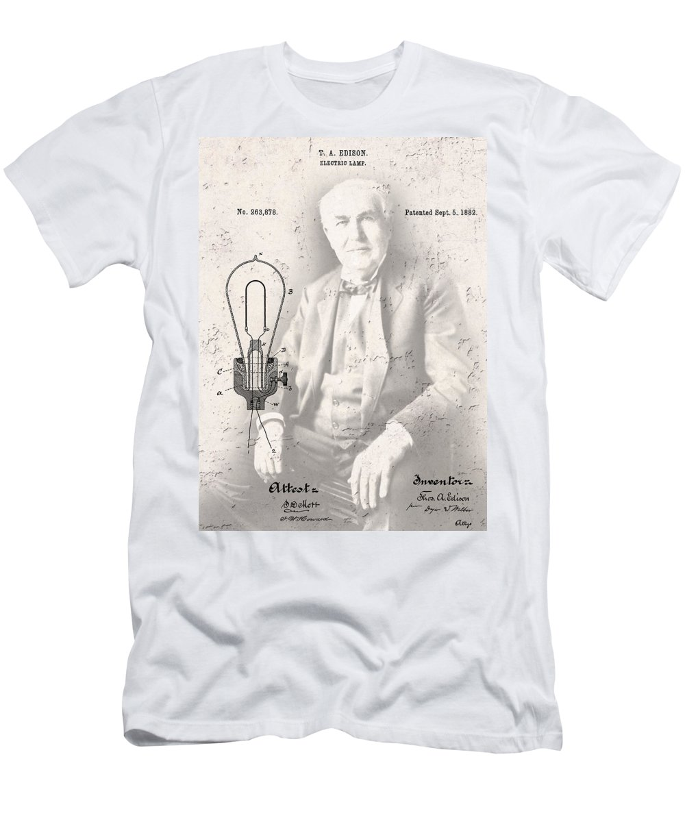 light Bulbs Men's T-Shirt (Athletic Fit) featuring the digital art Edison And Electric Lamp Patent by Daniel Hagerman