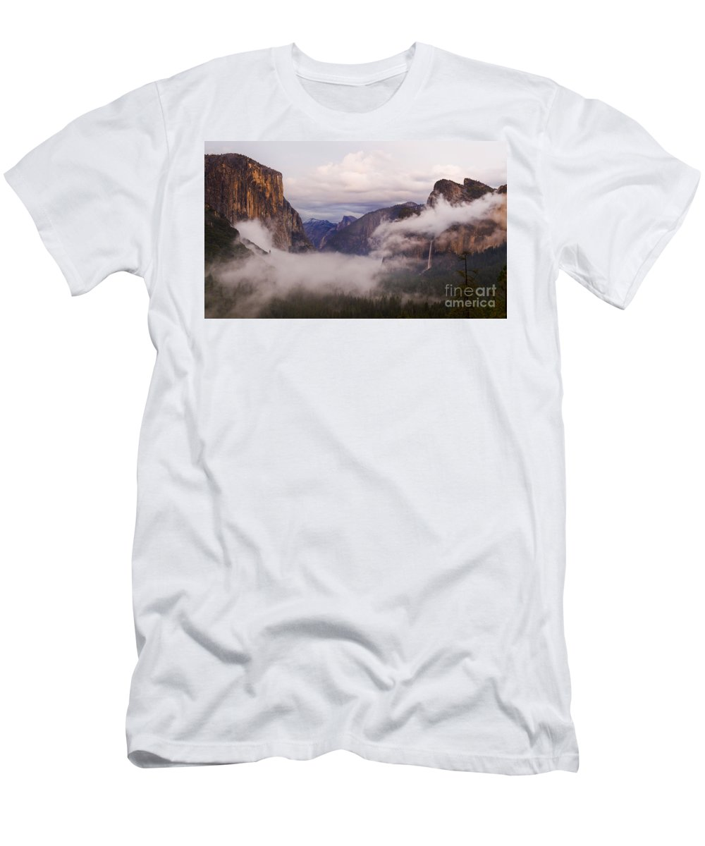 El Capitan Men's T-Shirt (Athletic Fit) featuring the photograph El Capitan Rises Over The Clouds by B Christopher
