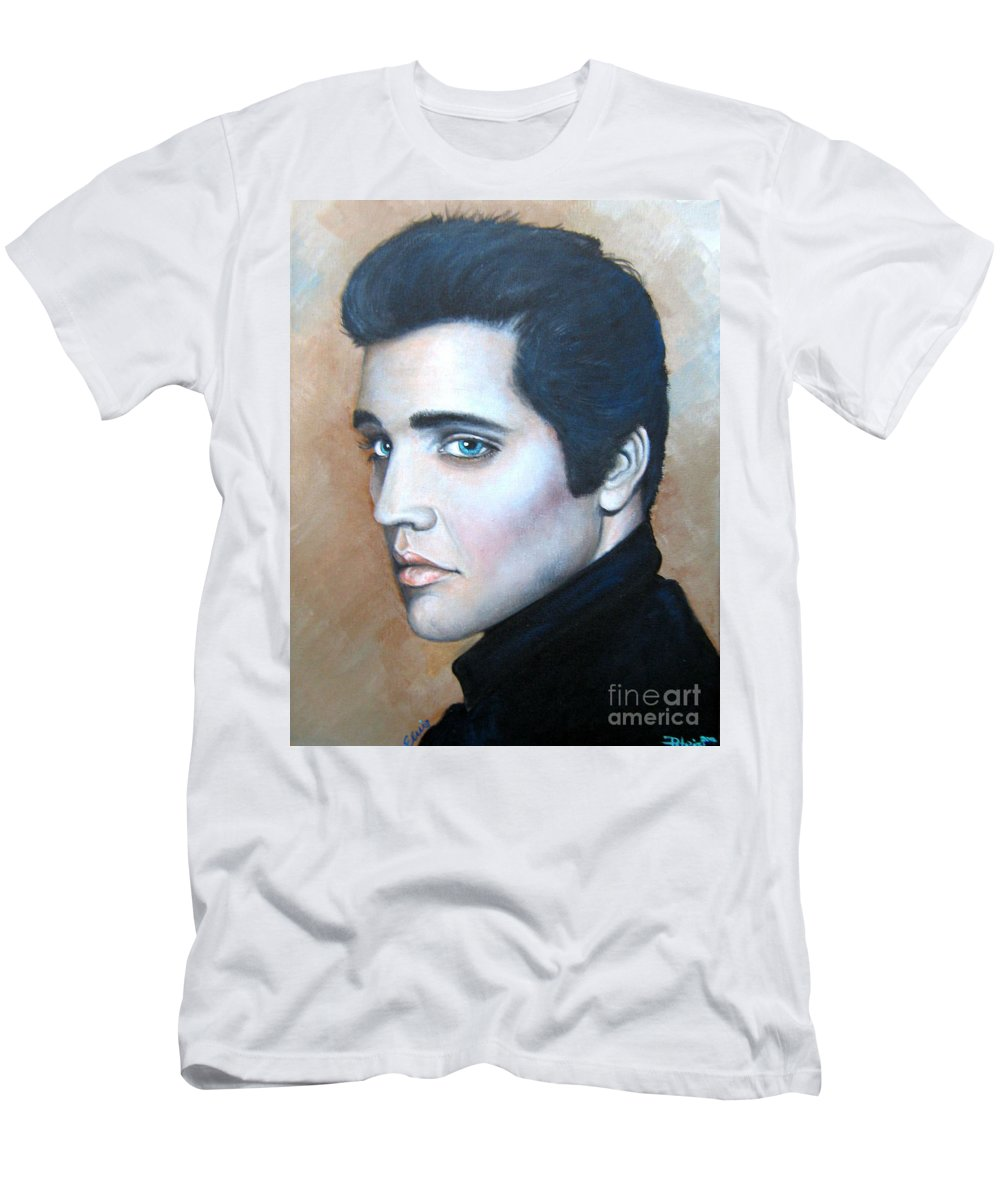 Elvis Men's T-Shirt (Athletic Fit) featuring the painting Elvis by Patrice Torrillo