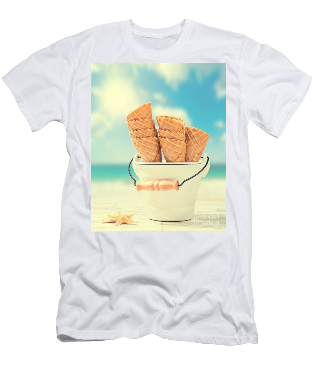 Icecream Men's T-Shirt (Athletic Fit) featuring the photograph Empty Ice Cream Cones by Amanda Elwell