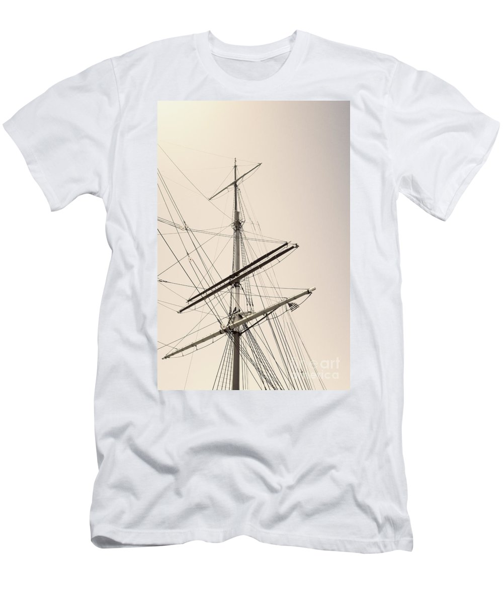 Boat Men's T-Shirt (Athletic Fit) featuring the photograph Empty Sails by Margie Hurwich