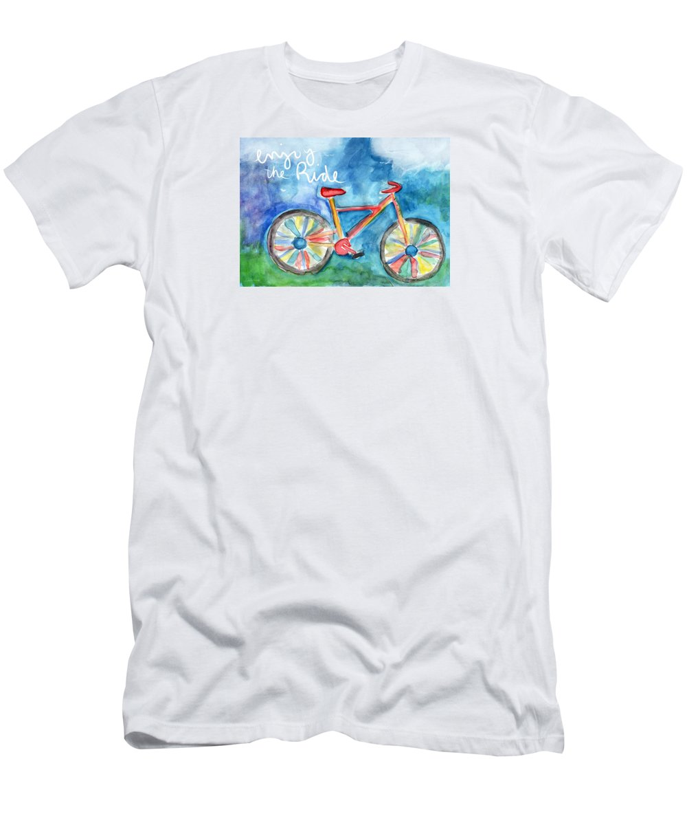 Bike T-Shirt featuring the painting Enjoy The Ride- Colorful Bike Painting by Linda Woods