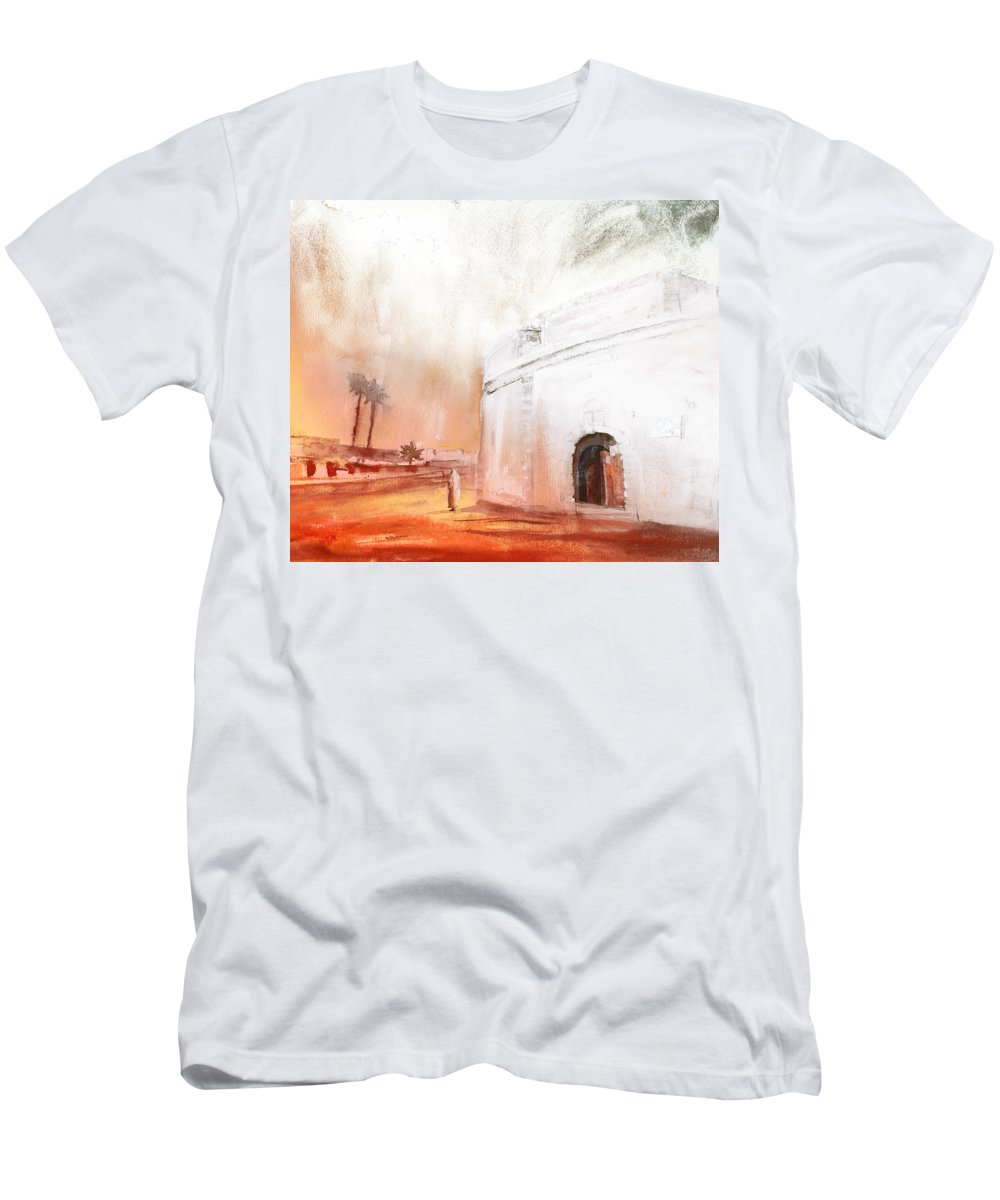 Travel Men's T-Shirt (Athletic Fit) featuring the painting Essaouira Town by Miki De Goodaboom