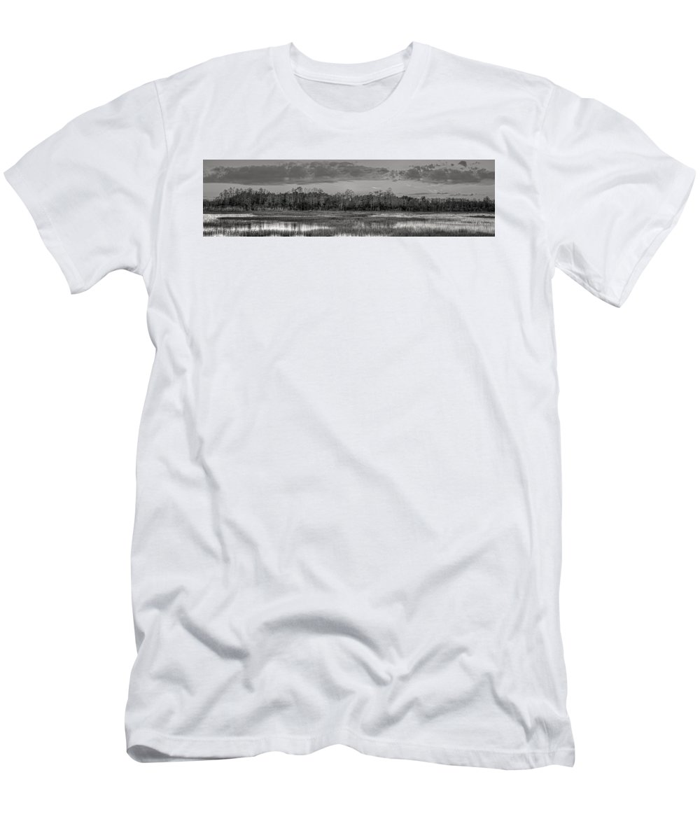 Butcher Men's T-Shirt (Athletic Fit) featuring the photograph Everglades Panorama Bw by Debra and Dave Vanderlaan