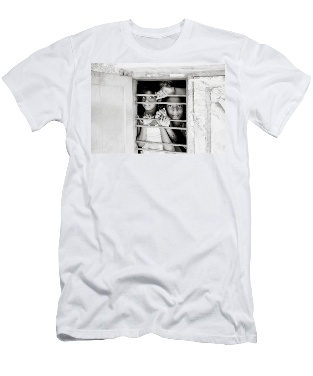 India Men's T-Shirt (Athletic Fit) featuring the photograph Faces In The Window by Shaun Higson