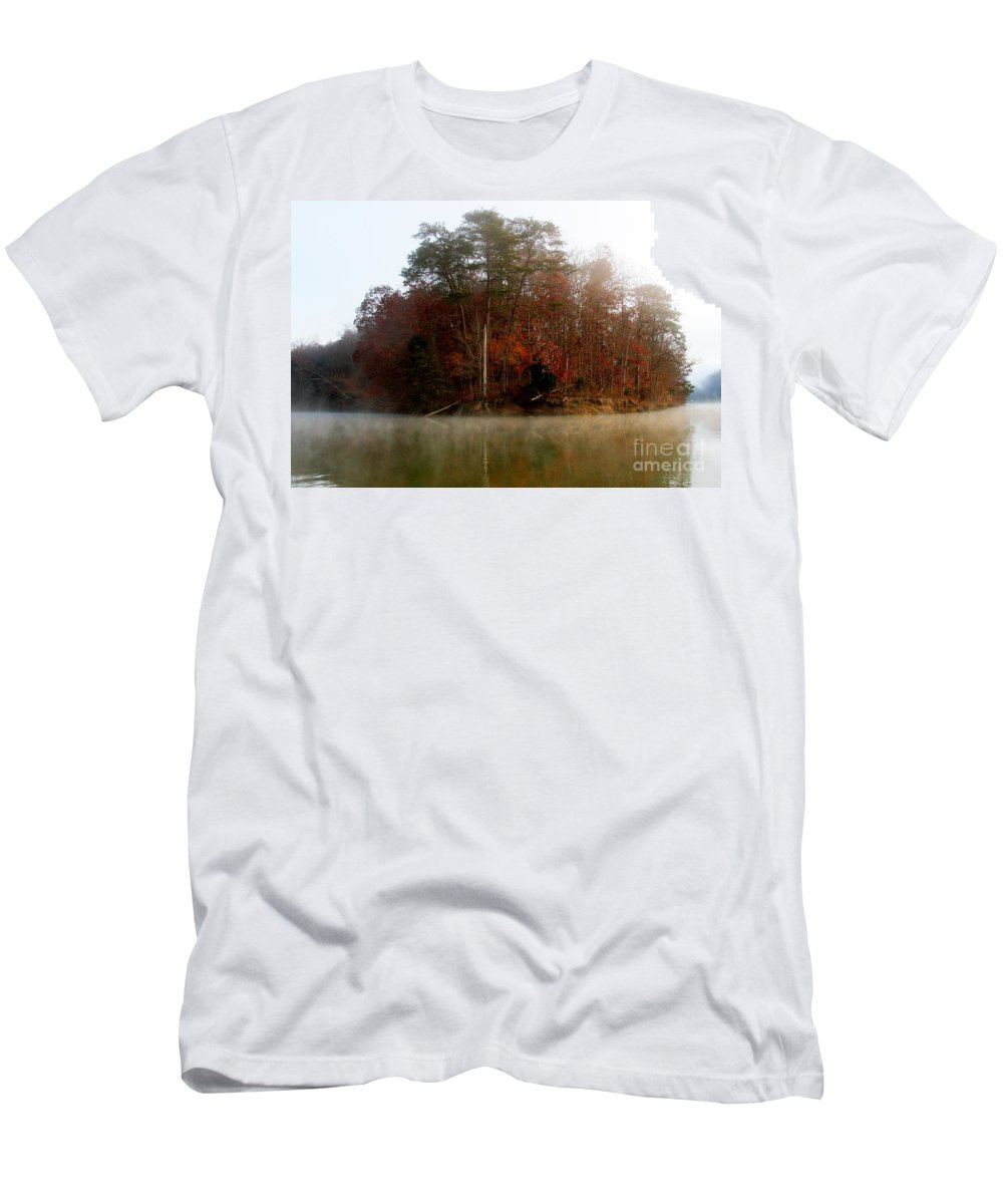 Lake Men's T-Shirt (Athletic Fit) featuring the photograph Fall On Melton Hill Lake by Douglas Stucky