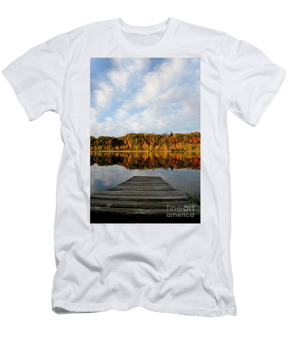 Lake Men's T-Shirt (Athletic Fit) featuring the photograph Fall On The Lake by DJ Florek