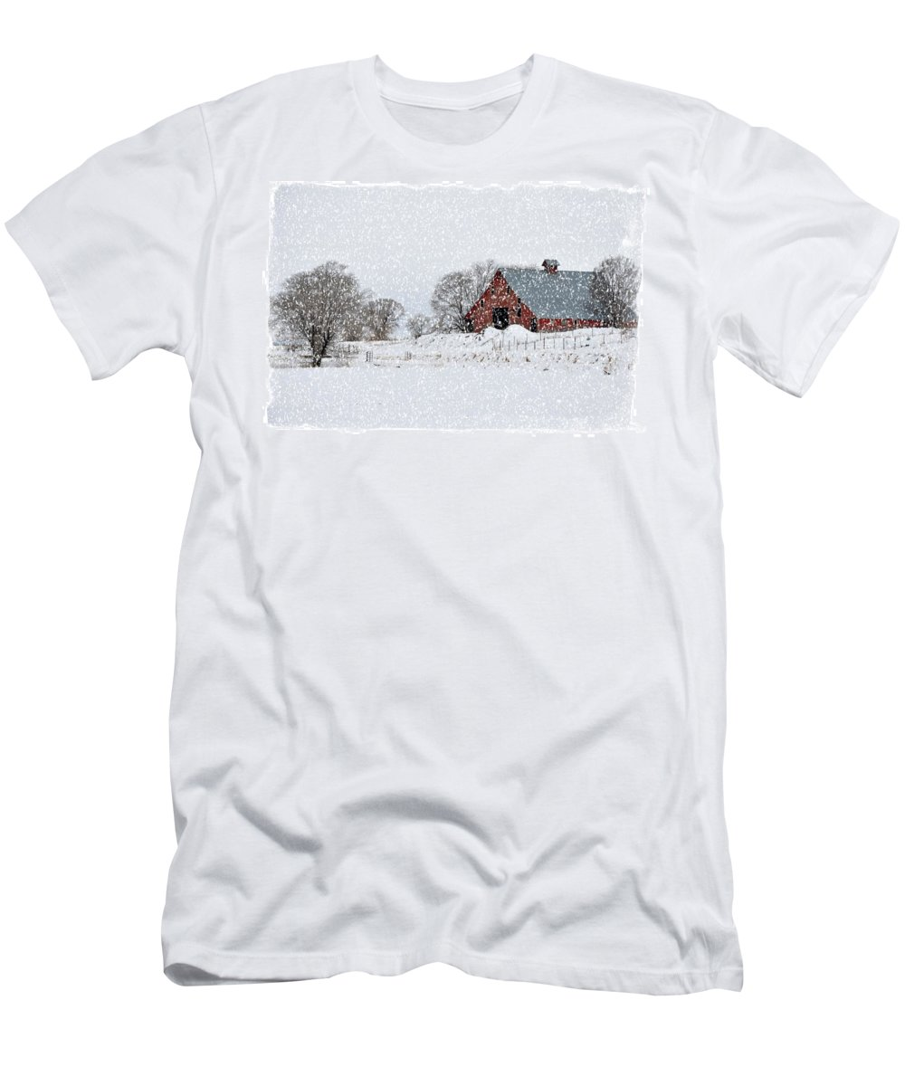 Idaho Falls Men's T-Shirt (Athletic Fit) featuring the photograph Falling Snow In Idaho Falls by Image Takers Photography LLC - Laura Morgan
