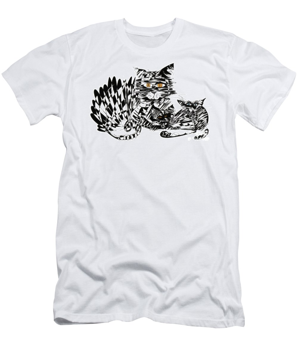 Cat Art Men's T-Shirt (Athletic Fit) featuring the photograph Family Cat by Justyna JBJart