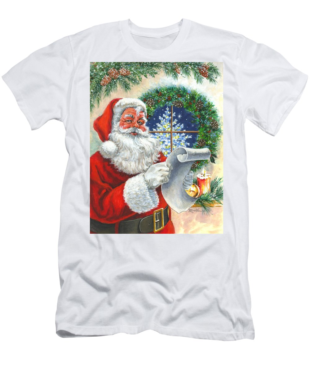 Santa Men's T-Shirt (Athletic Fit) featuring the painting Fan Mail by Richard De Wolfe