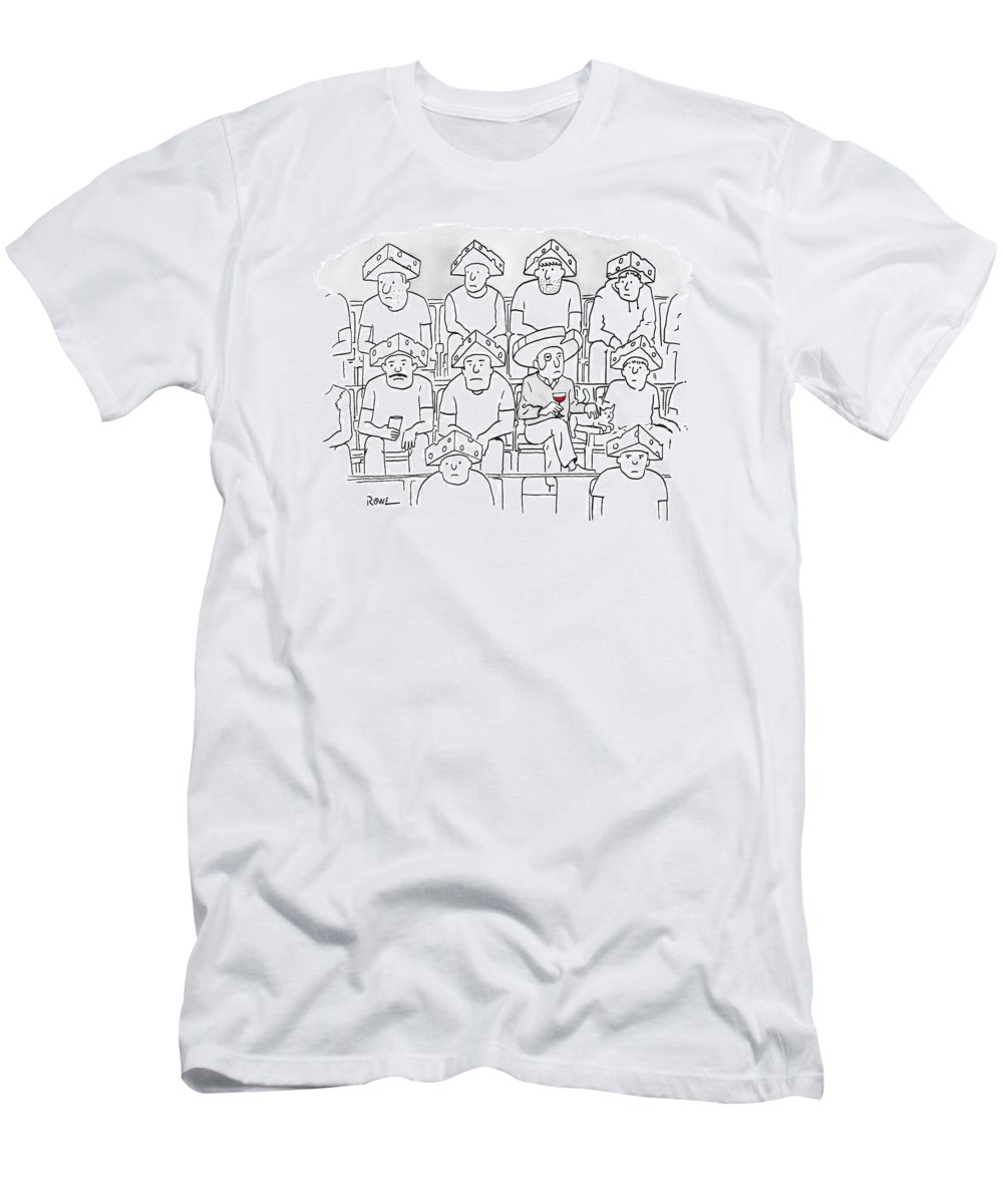 Captionless T-Shirt featuring the drawing Fans At A Football Game Sit In The Stands Wearing by Julian Rowe