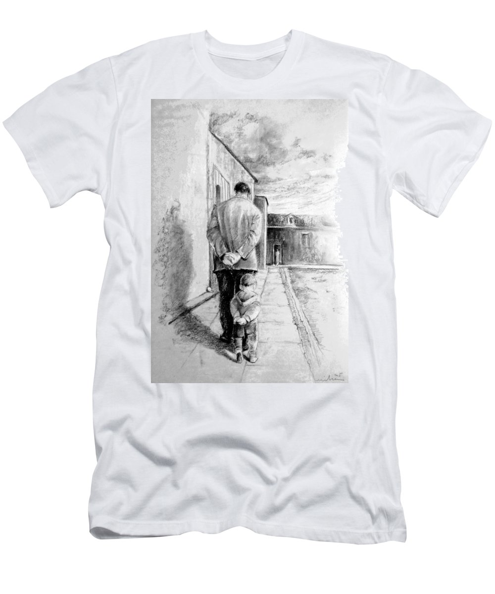 Portraits T-Shirt featuring the drawing Father and Son by Miki De Goodaboom