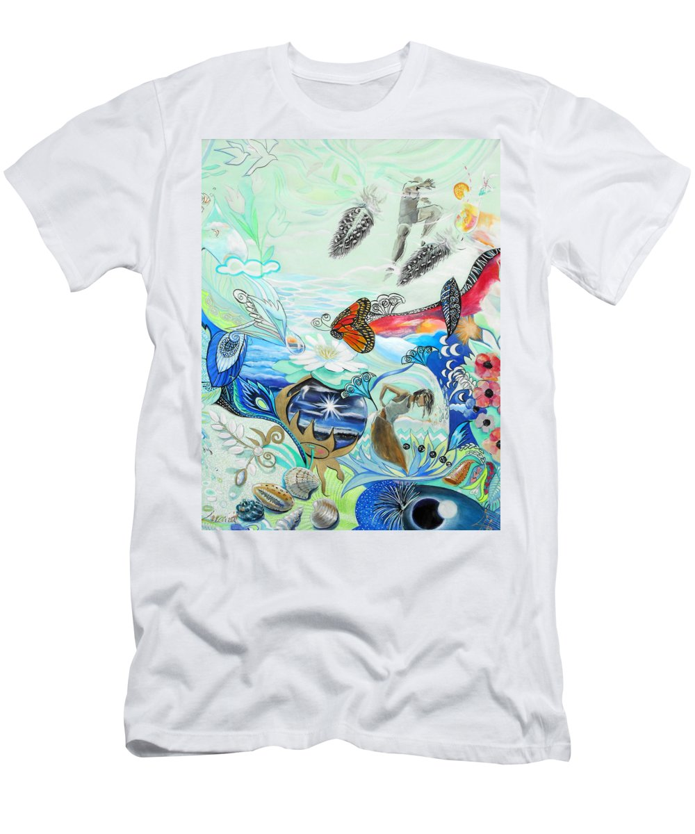 Feather Men's T-Shirt (Athletic Fit) featuring the painting Feathers by Lucia Hoogervorst