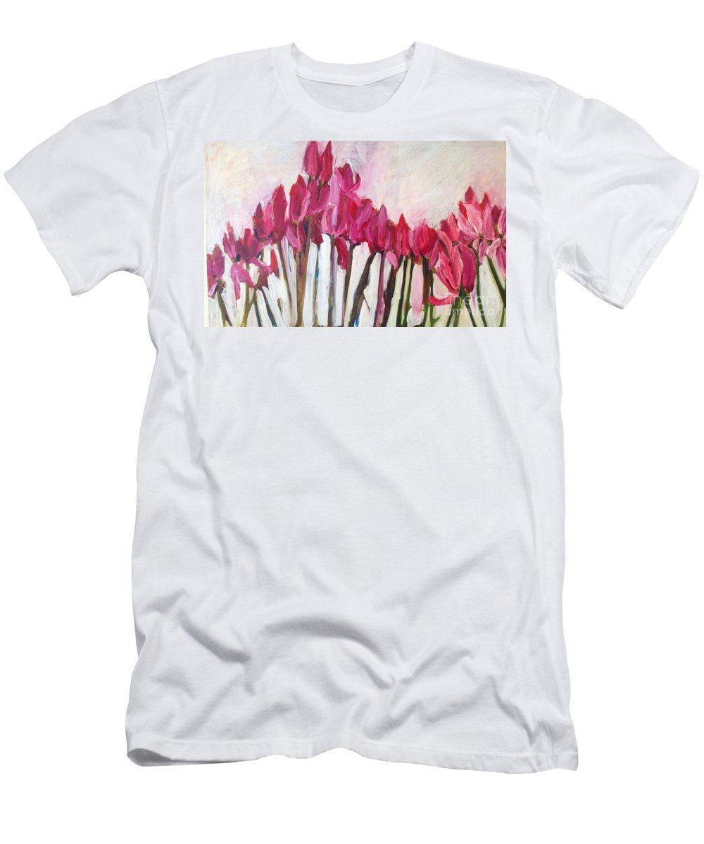 Floral Men's T-Shirt (Athletic Fit) featuring the painting Feeling The Love by Sherry Harradence