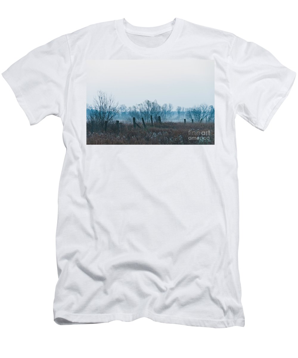 Landscapes Men's T-Shirt (Athletic Fit) featuring the photograph Fence In The Fog by Cheryl Baxter