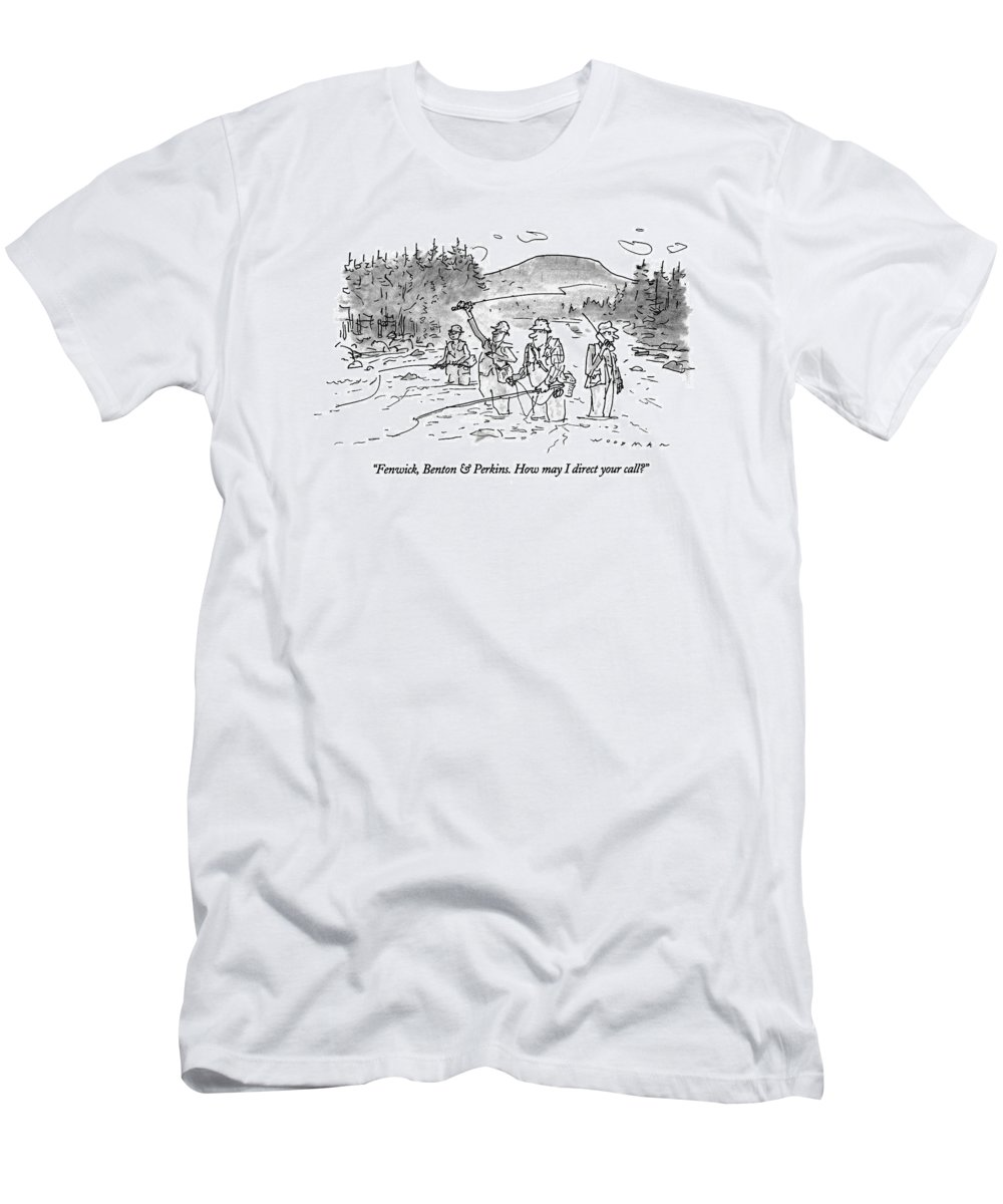 (man Answering Cellular Phone As He Stands Behind His Bosses Who T-Shirt featuring the drawing Fenwick, Benton & Perkins. How May I Direct by Bill Woodman