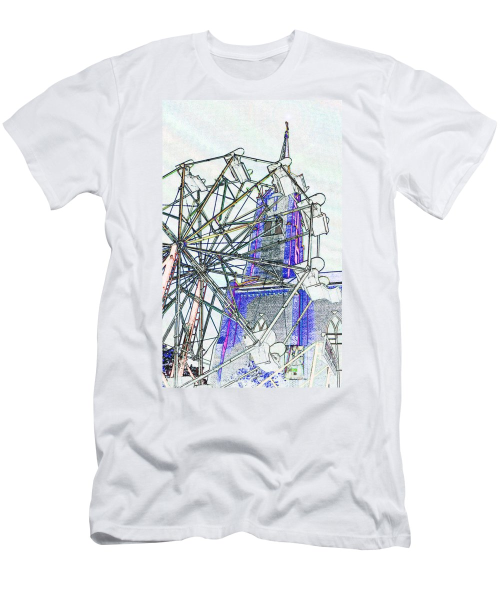 Church Men's T-Shirt (Athletic Fit) featuring the digital art Ferris Wheel 2 by Kimberlee Marvin