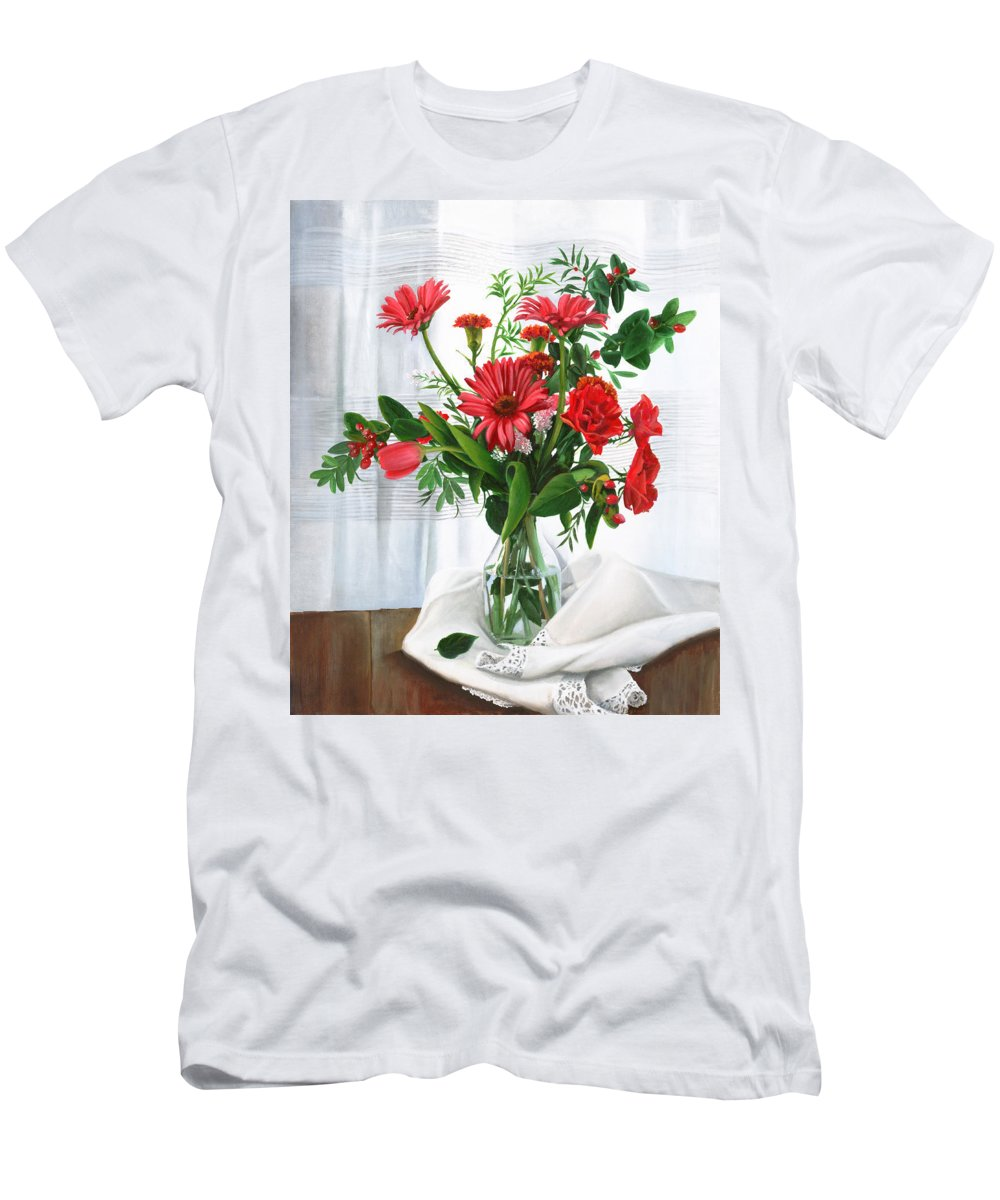 Still Life Men's T-Shirt (Athletic Fit) featuring the painting Fiori Rossi by Danka Weitzen