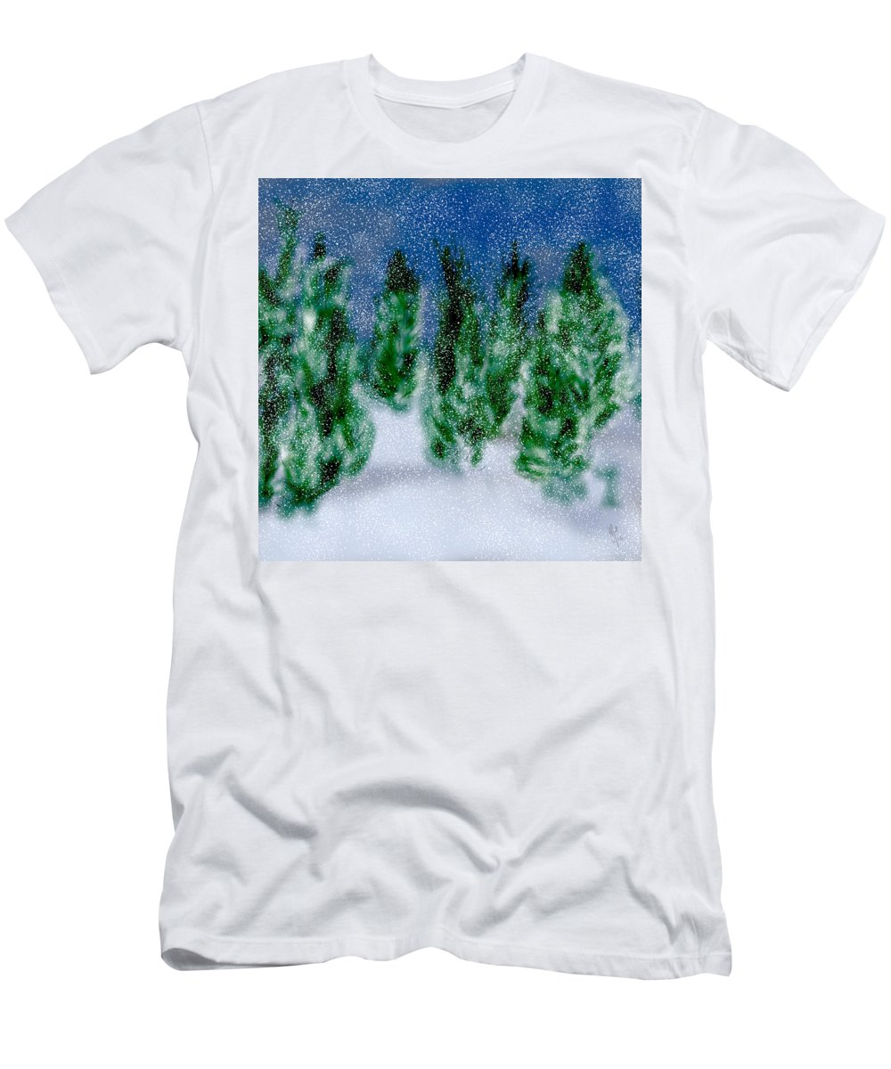 First Snow Men's T-Shirt (Athletic Fit) featuring the digital art First Snow by Mathieu Lalonde