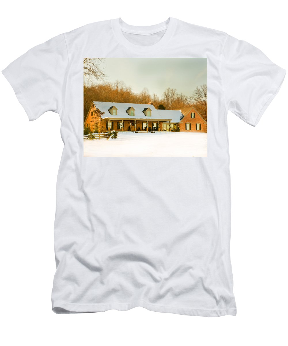 First Winter Snow Men's T-Shirt (Athletic Fit) featuring the photograph First Winter Snow by Randall Branham