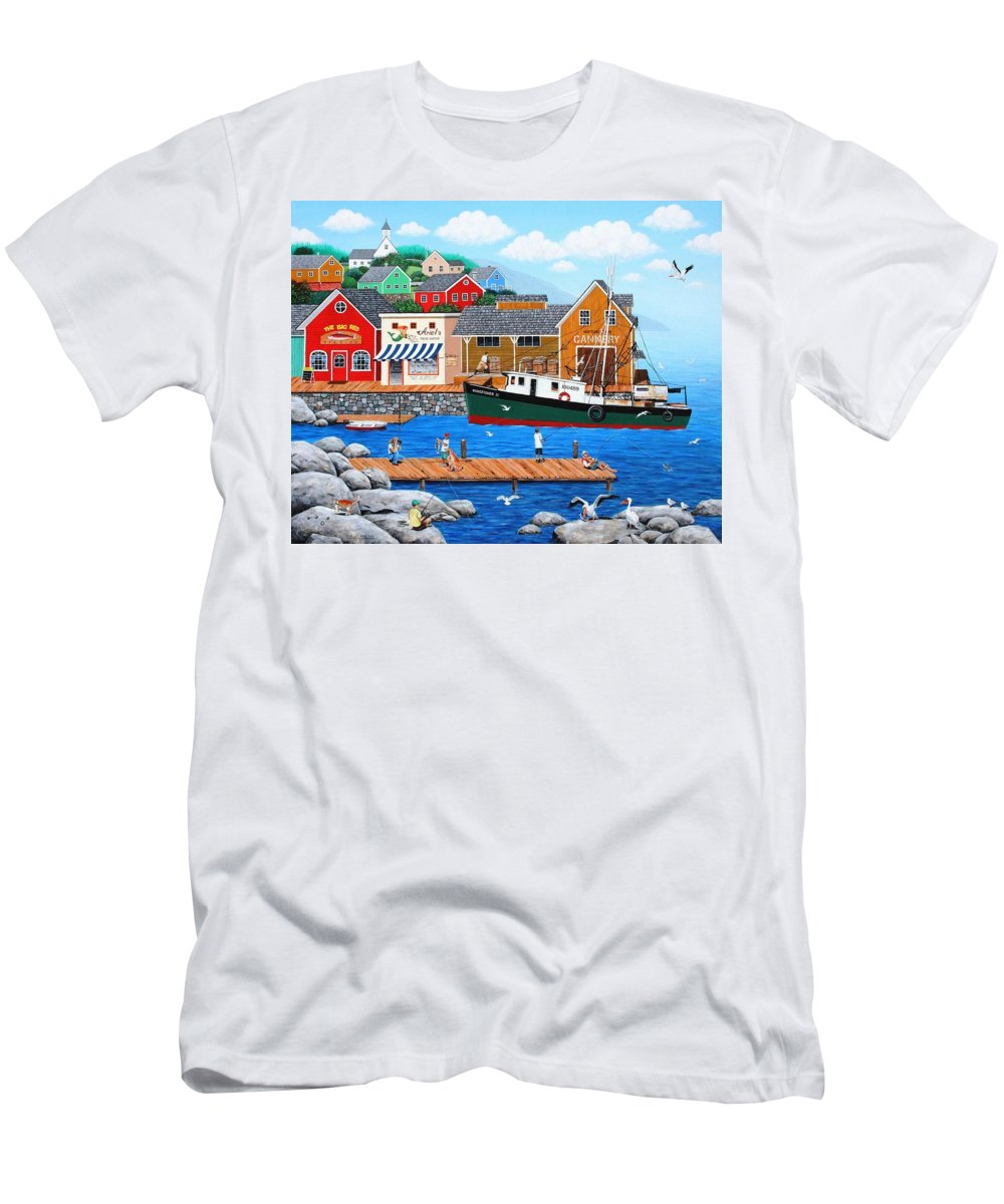 Folk Art Men's T-Shirt (Athletic Fit) featuring the painting Fish And More Fish by Wilfrido Limvalencia