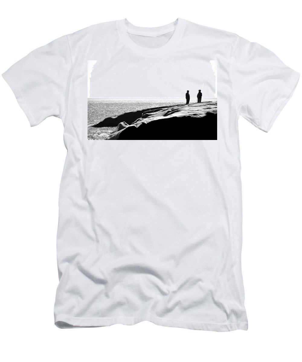 Blumwurks Men's T-Shirt (Athletic Fit) featuring the photograph Fishers By The Sea by Matthew Blum