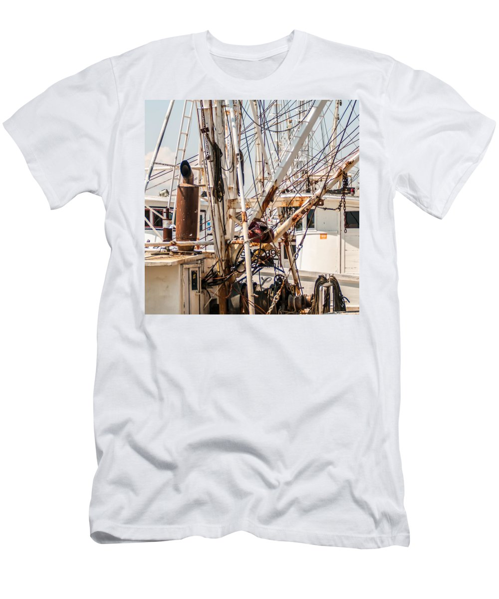 Fishing Men's T-Shirt (Athletic Fit) featuring the photograph Fishing Boats Equipment Chaos by Alex Grichenko