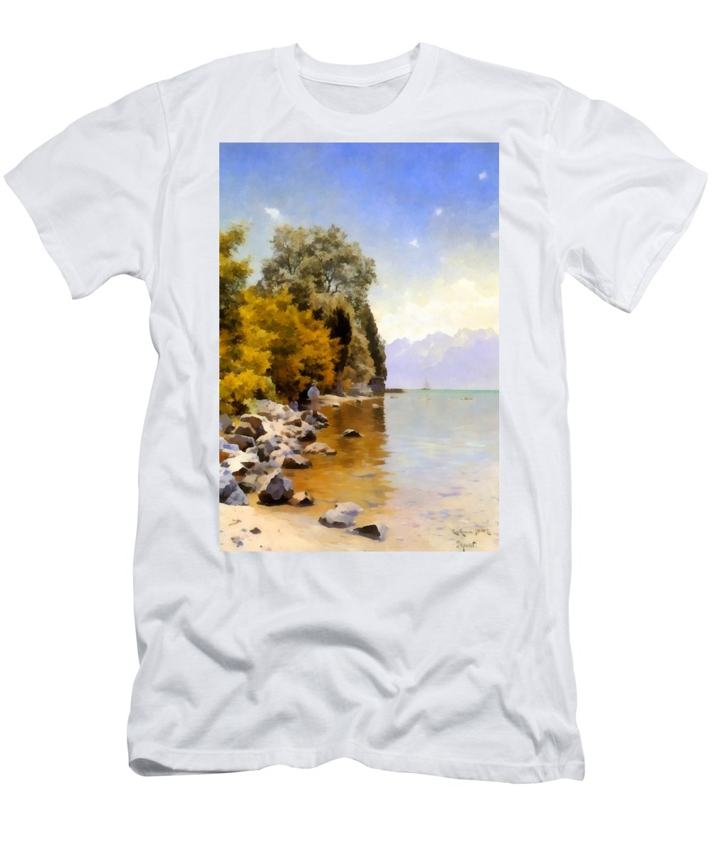 Peder Mork Monsted Men's T-Shirt (Athletic Fit) featuring the digital art Fishing On Lac Leman by Peder Mork Monsted