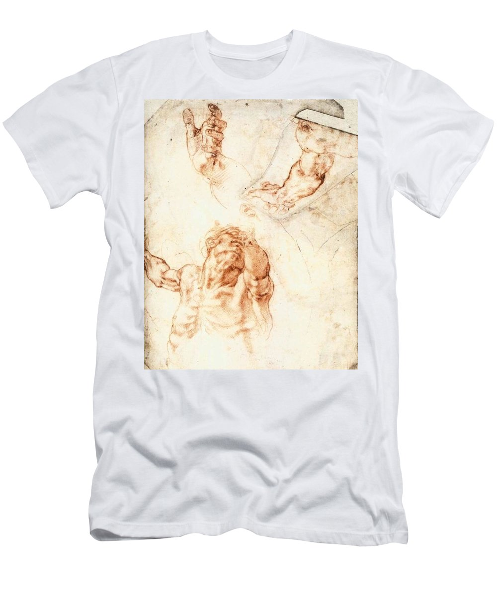 1512 Men's T-Shirt (Athletic Fit) featuring the painting Five Studies For The Figure Of Haman by Michelangelo Buonarroti
