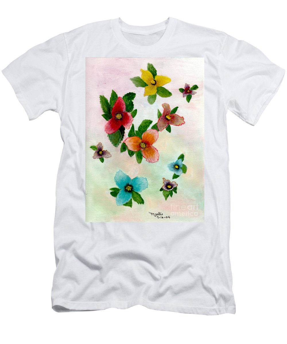 Red Men's T-Shirt (Athletic Fit) featuring the painting Floating Buds by Flamingo Graphix John Ellis