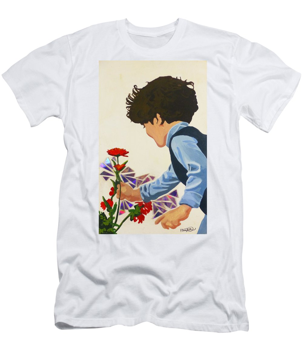 Hanzer Art Men's T-Shirt (Athletic Fit) featuring the painting Flower Child by Jack Hanzer Susco