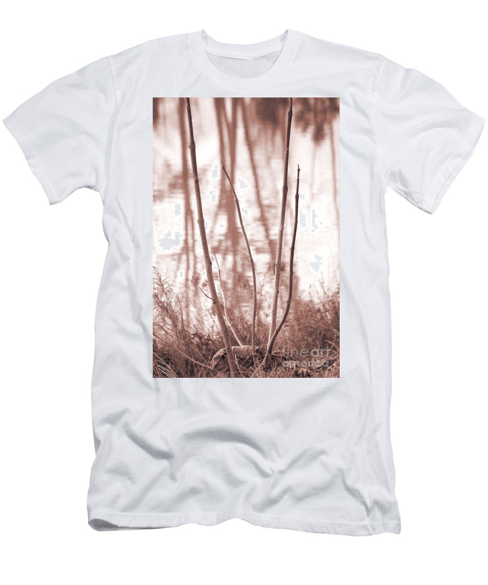 Foggy Forest Men's T-Shirt (Athletic Fit) featuring the photograph Foggy Autumn Morning by Luv Photography
