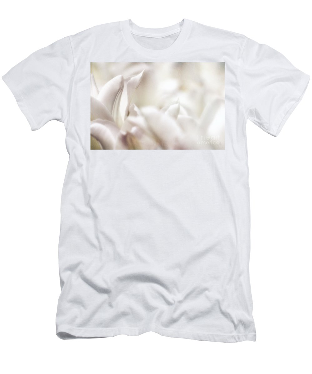White Tulips Abstract Men's T-Shirt (Athletic Fit) featuring the photograph Foggy Blossoms by Nishanth Gopinathan