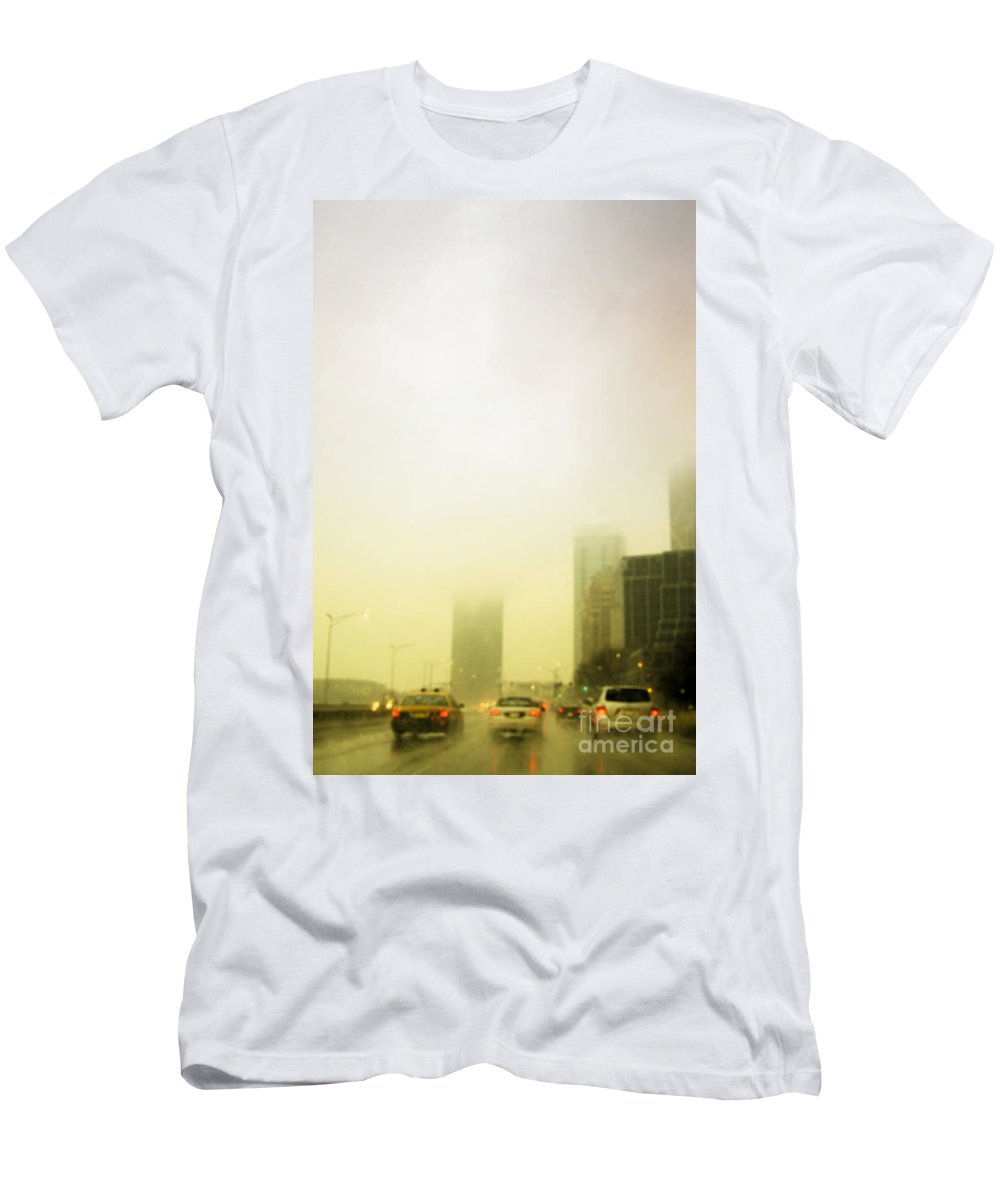 Cars; Traffic; Driving; Auto; Automobile; Automotive; Drive; Modern; City; Cityscape; Road; Outdoor; Outside; Perspective; Street; Transportation; Vehicle; Building; Busy; Chicago; Illinois; Lake Shore Drive; United States; Lights; Breaks; Rain; Rainy; Weather; Fog; Road; Highway; Brakes; Taxi; Cab Men's T-Shirt (Athletic Fit) featuring the photograph Foggy Drive by Margie Hurwich