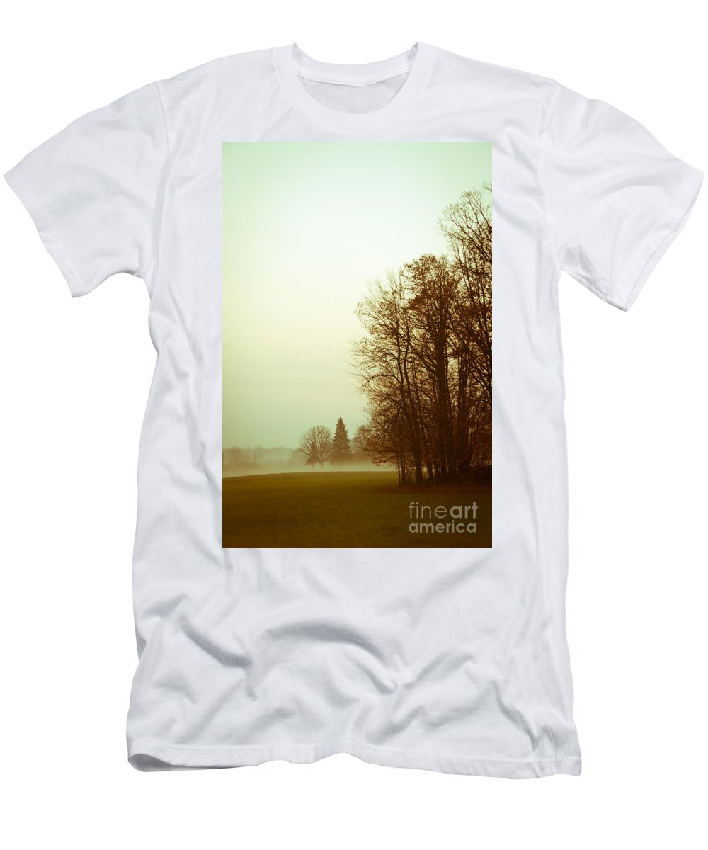 Landscapes Men's T-Shirt (Athletic Fit) featuring the photograph Foggy Morning by Cheryl Baxter
