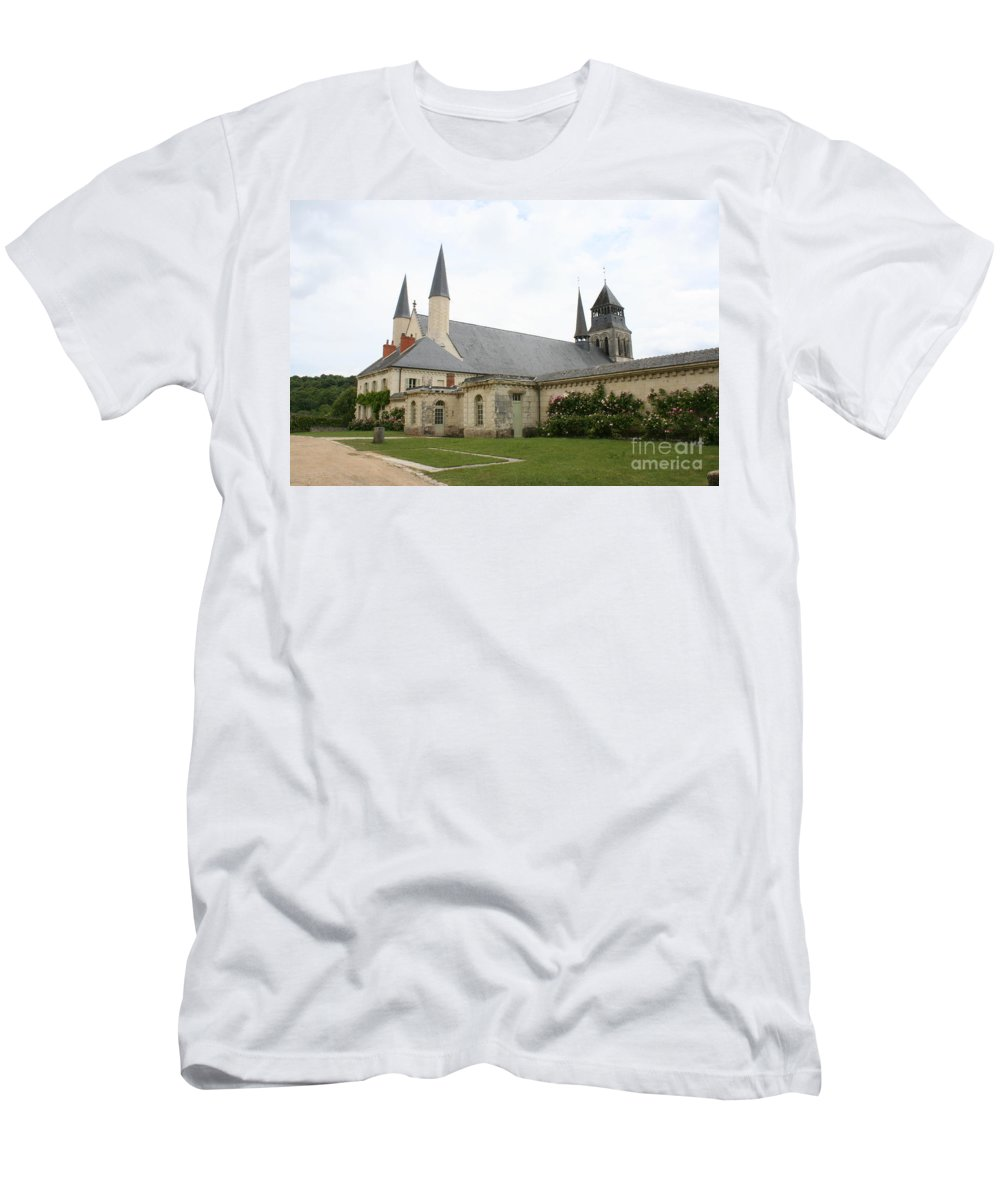 Cloister Men's T-Shirt (Athletic Fit) featuring the photograph Fontevraud Abbey - France by Christiane Schulze Art And Photography