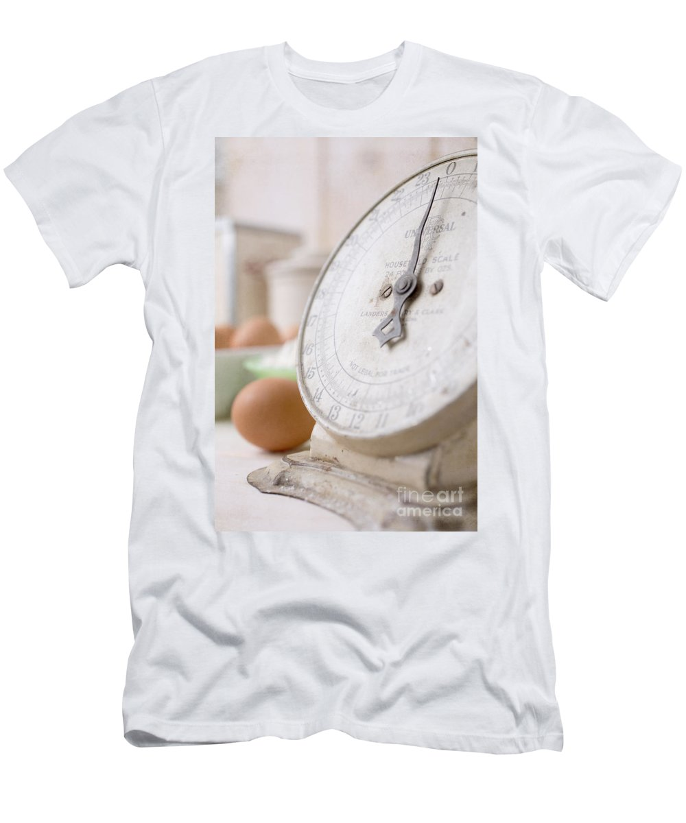 Bake Men's T-Shirt (Athletic Fit) featuring the photograph For The Baker Vintage Kitchen Scale by Edward Fielding